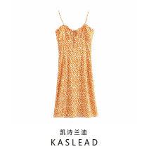 Dress Spring 2021 orange S,M,L Mid length dress street Broken flowers Socket printing Europe and America