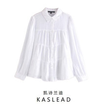shirt white XS,S,M,L Summer 2020 other 81% (inclusive) - 90% (inclusive) Long sleeves street Regular Polo collar Single row multi button routine Solid color Straight cylinder Button Europe and America