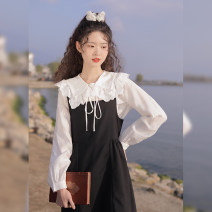 shirt Apricot, white, blue S,M,L Summer 2021 polyester fiber 91% (inclusive) - 95% (inclusive) Long sleeves Sweet Regular Doll Collar Single row multi button shirt sleeve Solid color 18-24 years old Straight cylinder linjou Bow, button
