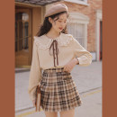 skirt Spring 2021 XS,S,M,L Light coffee Short skirt Versatile Natural waist A-line skirt lattice Type A 18-24 years old 51% (inclusive) - 70% (inclusive) linjou polyester fiber