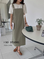 Dress Summer 2021 green Average size longuette singleton  Long sleeves commute Crew neck High waist Solid color Socket other routine Others 18-24 years old Type A Korean version I SO8231 31% (inclusive) - 50% (inclusive) other polyester fiber