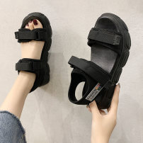 Sandals 35 36 37 38 39 40 cloth Yunaike Barefoot Muffin bottom Middle heel (3-5cm) Summer 2020 Velcro Korean version Solid color Adhesive shoes Youth (18-40 years old) polyurethane daily Front and rear trip strap Muffin with Low Gang Lateral space PU PU Roman shoes Pure e-commerce (online only)