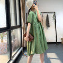 Dress Summer 2020 White, green, brown Average size Mid length dress singleton  Short sleeve Sweet Crew neck Loose waist Solid color Socket Big swing routine Others Type A Other / other Pleats, stitching, asymmetry, buttons SY-BR1605788 More than 95% other hemp solar system