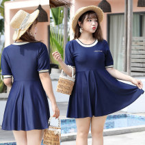 Split swimsuit AI Xiu 2261 navy blue (boxer) 2261 black (boxer) 2263 blue (split boxer) 2263 black (split boxer) Skirt split swimsuit With chest pad without steel support Polyester others ADS2263 Winter 2020 Short sleeve
