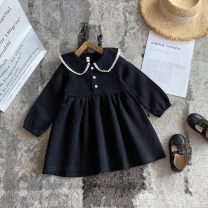 Dress black female Other / other 80cm,90cm,100cm,110cm,120cm,130cm Other 100% spring and autumn leisure time Long sleeves Solid color other A-line skirt 1966301E Class A 12 months, 2 years old, 3 years old, 4 years old, 5 years old, 6 years old Chinese Mainland