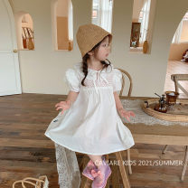 Dress white female Other / other 80cm,90cm,100cm,110cm,120cm,130cm Other 100% summer Korean version Short sleeve Solid color other A-line skirt X2117QZ other Seven, three, six, two, five, four Chinese Mainland Zhejiang Province Wenzhou City