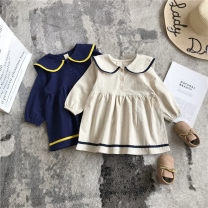 Dress Beige, Navy female Other / other 80cm,90cm,100cm,110cm,120cm,130cm Other 100% spring and autumn Korean version Long sleeves Solid color other A-line skirt Class B 12 months, 2 years old, 3 years old, 4 years old, 5 years old, 6 years old Chinese Mainland