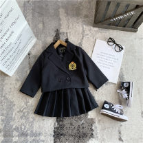 suit Other / other black 80cm,90cm,100cm,110cm,120cm,130cm female spring and autumn Korean version Long sleeve + skirt 2 pieces routine No model Single breasted nothing Solid color other elder Expression of love Class B Other 100% Three, four, five, six, seven, eight Chinese Mainland