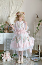 Lolita / soft girl / dress On Poetry Blue jsk, light cyan jsk L,M,S,XS