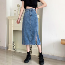 skirt Summer 2021 S,M,L,XL wathet longuette commute High waist Denim skirt Solid color Type H 18-24 years old 30% and below other other Button Korean version