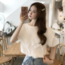 T-shirt white Average size Summer 2021 Short sleeve Crew neck easy Regular routine commute other 30% and below 18-24 years old Korean version youth Solid color Splicing