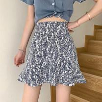 skirt Summer 2021 S,M,L Apricot, blue Short skirt commute High waist A-line skirt Broken flowers Type A 18-24 years old 30% and below other other Splicing Korean version