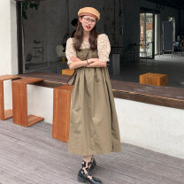 Dress Summer 2021 White jacket, apricot jacket, Khaki Skirt and black dress Average size longuette singleton  Sleeveless commute Loose waist other Socket Big swing straps 18-24 years old Type A Retro straps 30% and below other other