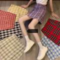 skirt Spring 2021 S,M,L Black, yellow, green, blue, red, purple, dark red Short skirt commute High waist A-line skirt lattice Type A 18-24 years old zipper Korean version
