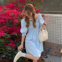 Dress Summer 2021 Apricot, light blue Average size Middle-skirt singleton  Short sleeve commute square neck Elastic waist Solid color Socket A-line skirt puff sleeve 18-24 years old Type A Korean version 30% and below other other