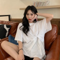 T-shirt White, black Average size Summer 2021 Short sleeve Crew neck easy Regular routine commute cotton 96% and above 18-24 years old Korean version Solid color fold