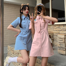 Dress Summer 2021 Blue, pink Average size Short skirt singleton  Short sleeve Sweet Polo collar High waist Solid color Single breasted A-line skirt routine Others 18-24 years old Type A 30% and below other other college