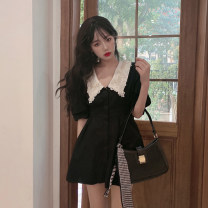 Dress Summer 2021 black S, M Short skirt singleton  Short sleeve commute Doll Collar High waist Single breasted A-line skirt other 18-24 years old Type A Korean version Button 30% and below other other