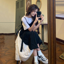 Dress Summer 2021 Average size longuette singleton  Short sleeve commute Crew neck High waist other other A-line skirt routine Others 18-24 years old Type A Korean version Asymmetry 30% and below other other