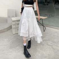 skirt Summer 2021 Average size White, black Mid length dress commute High waist Irregular Solid color Type A 18-24 years old 30% and below other other Korean version