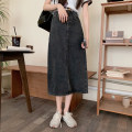 skirt Summer 2021 S,M,L Black, blue longuette commute High waist Denim skirt Solid color Type A 18-24 years old 30% and below other other Retro