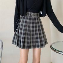 skirt Summer 2021 S,M,L grey Short skirt commute High waist Pleated skirt lattice Type A 18-24 years old zipper Korean version