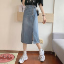 skirt Summer 2021 S,M,L blue Mid length dress commute High waist A-line skirt Solid color Type A 18-24 years old 30% and below other other Button Korean version