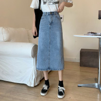 skirt Summer 2021 S,M,L,XL blue longuette commute High waist A-line skirt Solid color Type A 18-24 years old 30% and below other other Pocket, button Retro