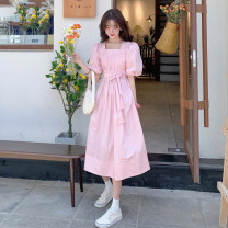 Dress Summer 2021 White, pink S, M longuette singleton  Short sleeve commute square neck High waist Solid color Socket A-line skirt puff sleeve Others 18-24 years old Type A Korean version 30% and below other other