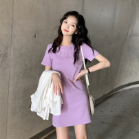 Dress Summer 2021 Pink, purple, blue, yellow, black Average size Short skirt singleton  Short sleeve commute Crew neck Solid color routine Others 18-24 years old Korean version other