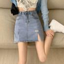 skirt Summer 2021 S,M,L,XL blue Short skirt commute High waist A-line skirt letter Type A 18-24 years old 30% and below other other Pocket, button, zipper Korean version