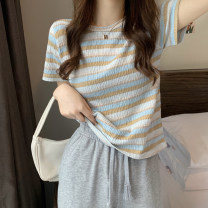 T-shirt Light purple, light blue, dark blue, coffee Average size Summer 2021 Short sleeve Crew neck easy have cash less than that is registered in the accounts routine commute cotton 96% and above 18-24 years old Korean version Thick horizontal stripe