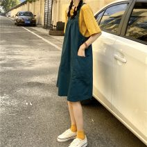 Dress Spring 2021 Yellow T-shirt piece, green strap piece Average size Mid length dress singleton  Sleeveless commute square neck Loose waist Solid color A-line skirt other straps 18-24 years old Type A Korean version pocket other cotton