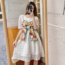 Dress Summer 2021 Single white dress, single floral sling Average size Middle-skirt Two piece set Short sleeve commute Crew neck High waist Solid color Socket A-line skirt puff sleeve Others 18-24 years old Type X Korean version 30% and below other other