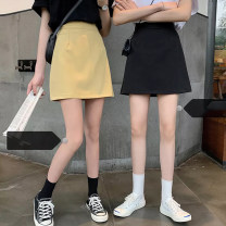 skirt Spring 2021 S,M,L,XL Gray, yellow, black Short skirt commute High waist A-line skirt Solid color Type A 18-24 years old Korean version