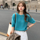 T-shirt Peacock blue, yellow, navy blue Average size Summer 2021 Short sleeve Crew neck Straight cylinder Regular routine commute cotton 96% and above 18-24 years old Korean version youth Solid color
