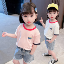 T-shirt Pink, white Other / other Size 80 (height 70-78cm, age 1), Size 90 (height 78-87cm, age 1-2), size 100 (height 88-97cm, age 2-3), Size 110 (height 98-107cm, age 3-4), Size 120 (height 108-117cm, age 4-5), Size 130 (height 118-130cm, age 5-6) female summer Short sleeve Crew neck leisure time