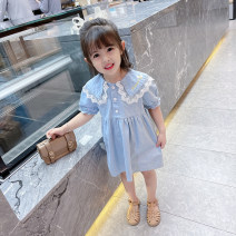 Dress blue female Other / other Size 90 (height 78-87cm, age 1-2), size 100 (height 88-97cm, age 2-3), Size 110 (height 98-107cm, age 3-4), Size 120 (height 108-117cm, age 4-5), Size 130 (height 118-130cm, age 5-6) Other 100% summer princess Short sleeve Solid color cotton Lotus leaf edge Class B