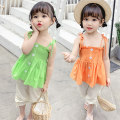 suit Other / other Green, orange Size 90 (height 78-87cm, age 1-2), size 100 (height 88-97cm, age 2-3), Size 110 (height 98-107cm, age 3-4), Size 120 (height 108-117cm, age 4-5), Size 130 (height 118-130cm, age 5-6) female summer leisure time Short sleeve + pants 2 pieces routine Socket nothing
