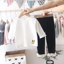 T-shirt White, black Other / other 80, 90, 100, 110, 120, 130 female spring and autumn Long sleeves Crew neck leisure time There are models in the real shooting nothing other Solid color Class B 18 months, 2 years, 3 years, 4 years, 5 years, 6 years, 12 months Chinese Mainland