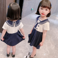 Dress white female Other / other Size 90 (height 78-87cm, age 1-2), size 100 (height 88-97cm, age 2-3), Size 110 (height 98-107cm, age 3-4), Size 120 (height 108-117cm, age 4-5), Size 130 (height 118-130cm, age 5-6) Other 100% summer princess Short sleeve Solid color cotton Lotus leaf edge Class B