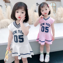 Dress White, pink female Other / other Size 90 (height 78-87cm, age 1-2), size 100 (height 88-97cm, age 2-3), Size 110 (height 98-107cm, age 3-4), Size 120 (height 108-117cm, age 4-5), size 80 (height 70-78cm, age 1) Other 100% summer princess Short sleeve Solid color cotton Lotus leaf edge Class B