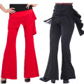 Square dance pants Black, red, blue M,L,XL,2XL,3XL,4XL,5XL trousers middle-waisted polyester fiber bell-bottoms female Army Tour show Solid color no Auricularia auricula, tassel 30-39 years old