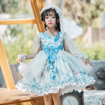 Dress Blue mesh sleeve Lolita 9028 female Other / other The recommended height is 100-105cm for Size 110, 106-115cm for Size 120, 116-125cm for Size 130, 126-134cm for size 140 and 135-140cm for size 150 Other 100% summer Lolita Long sleeves Cartoon animation other other Class B Chinese Mainland