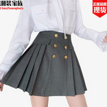skirt Winter 2020 S,M,L Rock ash Short skirt commute High waist Pleated skirt Solid color Type A 18-24 years old 30% and below Wool polyester fiber Button 201g / m ^ 2 (including) - 250G / m ^ 2 (including)