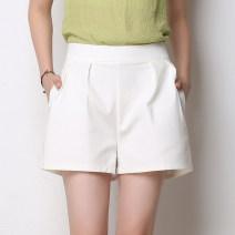Casual pants White, black, navy S,M,L,XL,2XL,3XL,4XL Summer 2021 Pant Wide leg pants High waist commute Thin money 25-29 years old 81% (inclusive) - 90% (inclusive) cotton Korean version pocket cotton Asymmetry