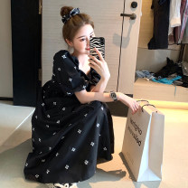 Dress Summer 2021 black M, L Short skirt singleton  Short sleeve commute square neck High waist other Socket A-line skirt puff sleeve Others 18-24 years old Type A Big C Korean version Embroidery LYQC75-91 71% (inclusive) - 80% (inclusive) other cotton