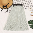 skirt Spring 2021 Average size Green, yellow, black Middle-skirt commute High waist A-line skirt lattice Type A 18-24 years old Other / other Chain, button Retro
