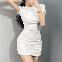 Dress Summer 2021 White, black S,M,L Short skirt singleton  Short sleeve street Crew neck High waist other Socket One pace skirt routine Others 18-24 years old Type H Hollow out, open back, embroidery OMMBD11177 31% (inclusive) - 50% (inclusive) other cotton Europe and America