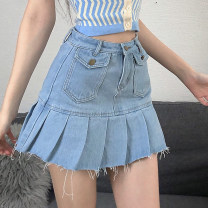 skirt Summer 2021 S,M,L blue Short skirt street High waist Pleated skirt Solid color Type A 18-24 years old OMMCD12201 71% (inclusive) - 80% (inclusive) Denim cotton Pocket, worn, torn Europe and America